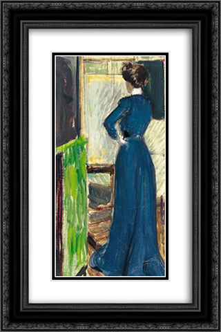Martha Kurzweil before an easel 16x24 Black or Gold Ornate Framed and Double Matted Art Print by Max Kurzweil