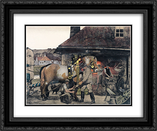 The Farrier 24x20 Black or Gold Ornate Framed and Double Matted Art Print by Max Kurzweil