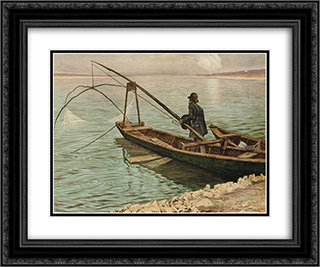 The fisherman 24x20 Black or Gold Ornate Framed and Double Matted Art Print by Max Kurzweil