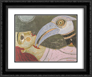 Det bla nabbets kyss 24x20 Black or Gold Ornate Framed and Double Matted Art Print by Max Walter Svanberg