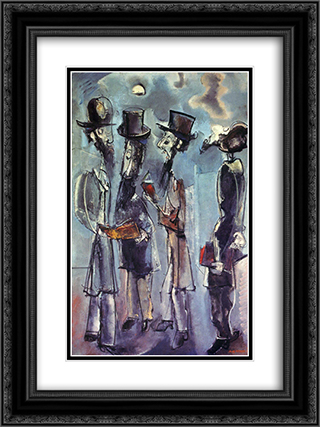 Adoration of the Moon 18x24 Black or Gold Ornate Framed and Double Matted Art Print by Max Weber