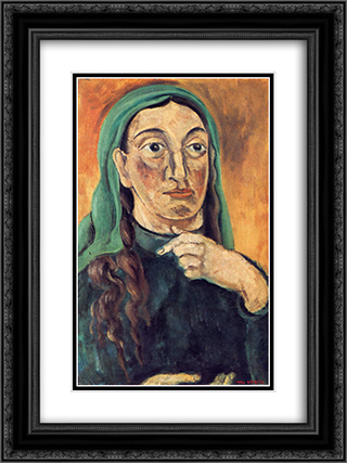 Draped Head 18x24 Black or Gold Ornate Framed and Double Matted Art Print by Max Weber