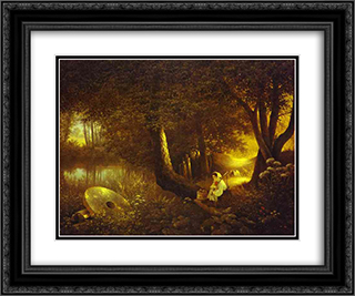 By an Old Mill 24x20 Black or Gold Ornate Framed and Double Matted Art Print by Maxim Vorobiev