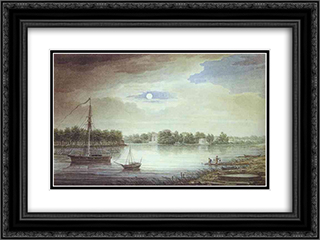 Elagin Island at Night 24x18 Black or Gold Ornate Framed and Double Matted Art Print by Maxim Vorobiev