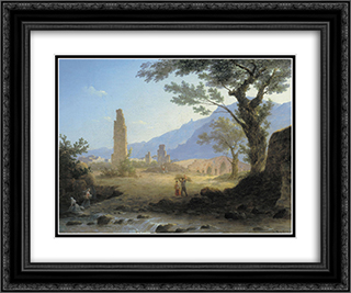 Italian Landscape 24x20 Black or Gold Ornate Framed and Double Matted Art Print by Maxim Vorobiev