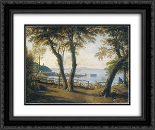 Italian Seaside Landscape 24x20 Black or Gold Ornate Framed and Double Matted Art Print by Maxim Vorobiev