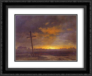 Landscape with a Cross. Lithuania 24x20 Black or Gold Ornate Framed and Double Matted Art Print by Maxim Vorobiev
