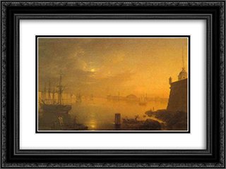 Moonlit Night in St. Petersburg 24x18 Black or Gold Ornate Framed and Double Matted Art Print by Maxim Vorobiev