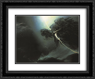 Oak fractured by a lightning. Allegory on the artist's wife death 24x20 Black or Gold Ornate Framed and Double Matted Art Print by Maxim Vorobiev