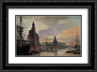 Sphinxes lining a quay in front of St. Petersburg Academy of Arts 24x18 Black or Gold Ornate Framed and Double Matted Art Print by Maxim Vorobiev