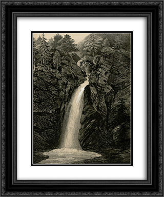Cascade de Garet 20x24 Black or Gold Ornate Framed and Double Matted Art Print by Maxime Lalanne