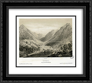 Cauterets - Vue prise du Mamelon vert 22x20 Black or Gold Ornate Framed and Double Matted Art Print by Maxime Lalanne