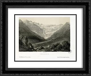 Cirque de Gavarnie 24x20 Black or Gold Ornate Framed and Double Matted Art Print by Maxime Lalanne