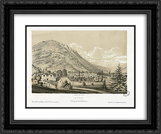 Luchon, (Vue prise de Bellevue) 24x20 Black or Gold Ornate Framed and Double Matted Art Print by Maxime Lalanne