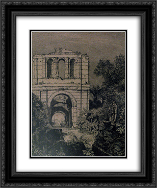 Ruins of the Gallien Palace 20x24 Black or Gold Ornate Framed and Double Matted Art Print by Maxime Lalanne