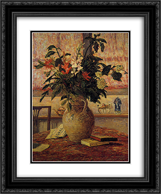 A Bouquet of Flowers in Front of a Window 20x24 Black or Gold Ornate Framed and Double Matted Art Print by Maxime Maufra