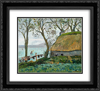 A cottage with thatched roof in Douarnenez 22x20 Black or Gold Ornate Framed and Double Matted Art Print by Maxime Maufra