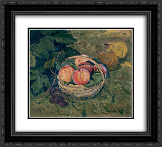 A fruitdish 22x20 Black or Gold Ornate Framed and Double Matted Art Print by Maxime Maufra