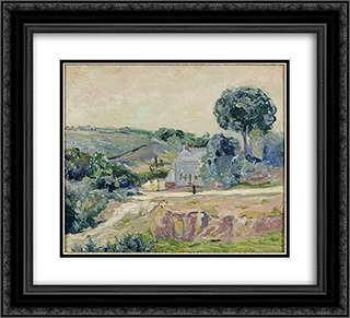 At sunrise in a valley, Brittany 22x20 Black or Gold Ornate Framed and Double Matted Art Print by Maxime Maufra