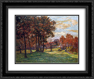 Autumn Landscape at Goulazon 24x20 Black or Gold Ornate Framed and Double Matted Art Print by Maxime Maufra