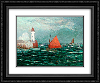 Back to Fishing boats in Belle-Isle-en-Mer 24x20 Black or Gold Ornate Framed and Double Matted Art Print by Maxime Maufra