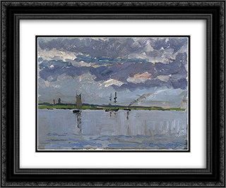 Banks of Loire 24x20 Black or Gold Ornate Framed and Double Matted Art Print by Maxime Maufra