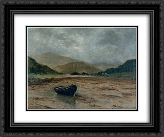 Beached boat 24x20 Black or Gold Ornate Framed and Double Matted Art Print by Maxime Maufra