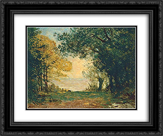 Beg-Meil at dusk 24x20 Black or Gold Ornate Framed and Double Matted Art Print by Maxime Maufra