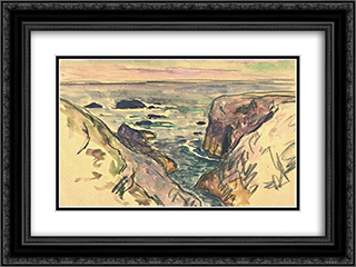 Belle-Ile-en-Mer, Evening, Cote Sauvage 24x18 Black or Gold Ornate Framed and Double Matted Art Print by Maxime Maufra