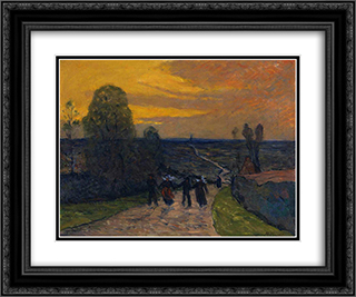 Bretons on the way 24x20 Black or Gold Ornate Framed and Double Matted Art Print by Maxime Maufra