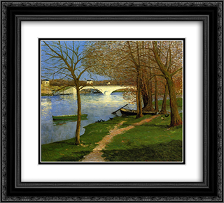Bridge over the Loire 22x20 Black or Gold Ornate Framed and Double Matted Art Print by Maxime Maufra