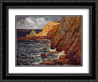 Cliffs 24x20 Black or Gold Ornate Framed and Double Matted Art Print by Maxime Maufra