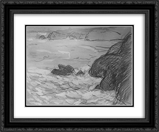 Cliffs and Sea 24x20 Black or Gold Ornate Framed and Double Matted Art Print by Maxime Maufra