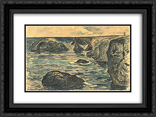 Cliffs of the wild coast 24x18 Black or Gold Ornate Framed and Double Matted Art Print by Maxime Maufra