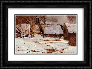 Cottages in the Snow 24x18 Black or Gold Ornate Framed and Double Matted Art Print by Maxime Maufra