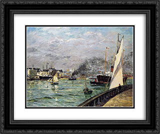 Departure of a Cargo Ship 24x20 Black or Gold Ornate Framed and Double Matted Art Print by Maxime Maufra