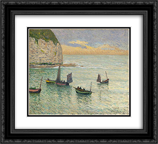 Departure of Fishing Boats 22x20 Black or Gold Ornate Framed and Double Matted Art Print by Maxime Maufra