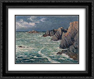 Domois shore (Belle-Ile-en-Mer) 24x20 Black or Gold Ornate Framed and Double Matted Art Print by Maxime Maufra