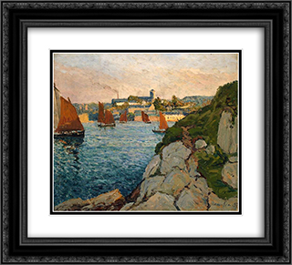 Douarnenez in Sunshine 22x20 Black or Gold Ornate Framed and Double Matted Art Print by Maxime Maufra
