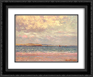 Evening, Morgat Beach 24x20 Black or Gold Ornate Framed and Double Matted Art Print by Maxime Maufra