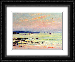 Evening at the Sea 24x20 Black or Gold Ornate Framed and Double Matted Art Print by Maxime Maufra