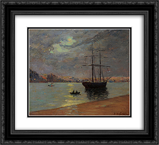 Evening fog over Nantes 22x20 Black or Gold Ornate Framed and Double Matted Art Print by Maxime Maufra