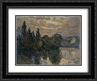 Evening Twilight on the Seine 24x20 Black or Gold Ornate Framed and Double Matted Art Print by Maxime Maufra