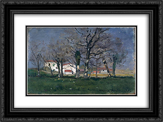 Farm in the Trees 24x18 Black or Gold Ornate Framed and Double Matted Art Print by Maxime Maufra