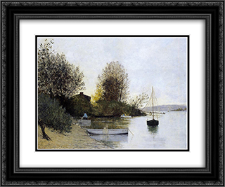 Fishermen on the Banks of the Loire 24x20 Black or Gold Ornate Framed and Double Matted Art Print by Maxime Maufra