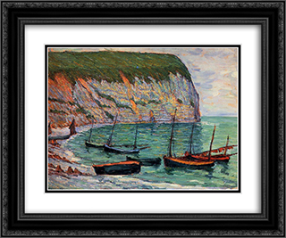 Fishing Boats on the Shore 24x20 Black or Gold Ornate Framed and Double Matted Art Print by Maxime Maufra