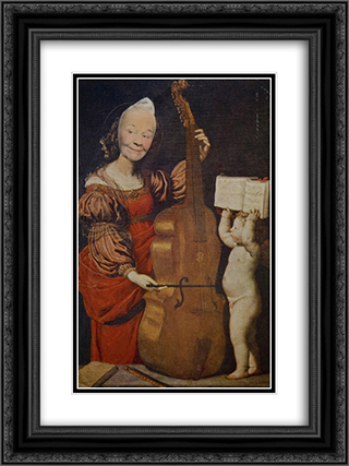 Ridiculous Portrait (Cello, Cherub) 18x24 Black or Gold Ornate Framed and Double Matted Art Print by May Wilson