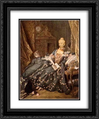 Ridiculous Portrait (Seated Woman, Small Book) 20x24 Black or Gold Ornate Framed and Double Matted Art Print by May Wilson