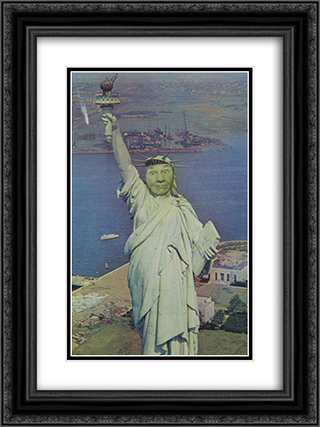 Ridiculous Portrait (Statue of Liberty) 18x24 Black or Gold Ornate Framed and Double Matted Art Print by May Wilson