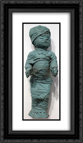 Wrapped Doll (cat's cradle) 14x24 Black or Gold Ornate Framed and Double Matted Art Print by May Wilson